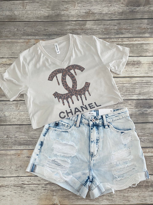 Leopard drippy Chanel graphic tee