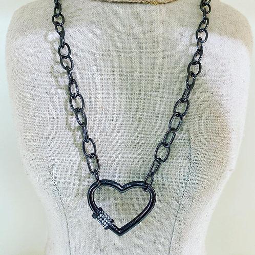 Hematite Heart Carabiner Necklace