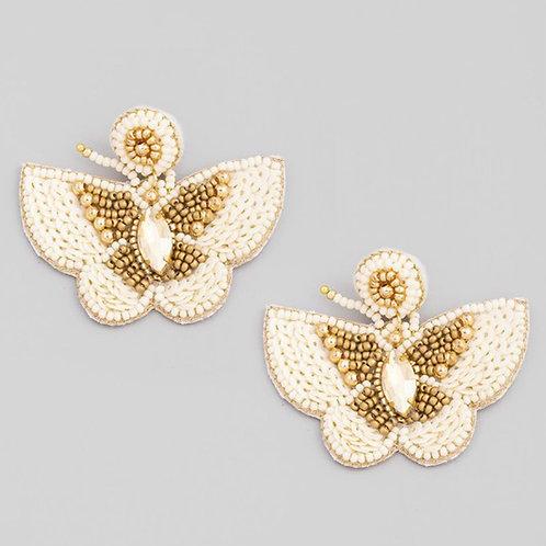 Ivory butterfly beaded earrings