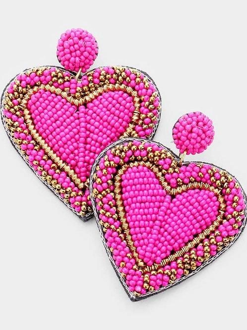 Fuschia & Gold Beaded Heart Earrings