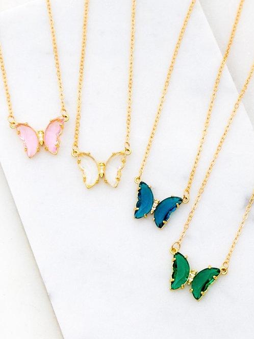 Gemstone Butterfly Necklace