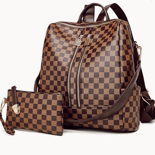 Brown Checkered Backpack Bag