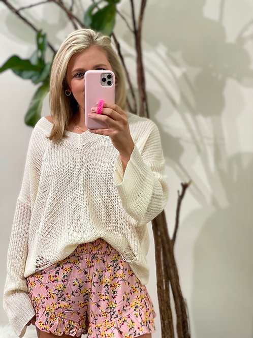 Distressed Ivory sweater