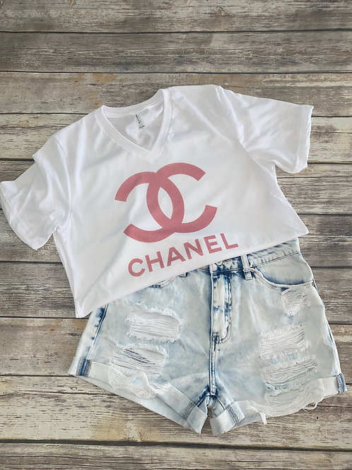 Pink Chanel graphic tee