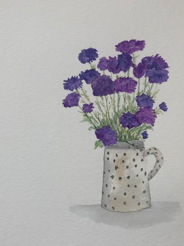 Purple Flowers in Polkadot Jar