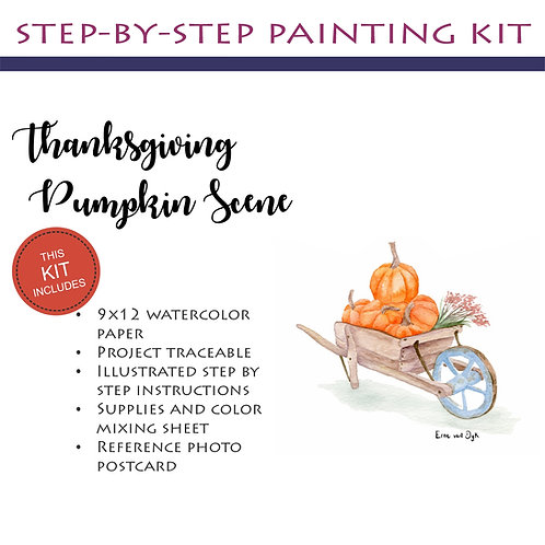 Step by Step Painting Kit: Thanksgiving Pumpkin Scene