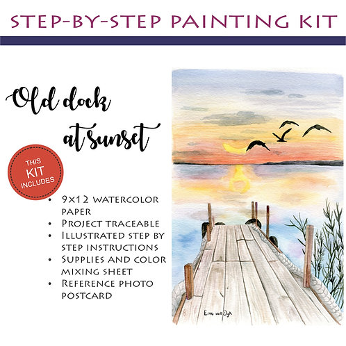 Step by Step Painting Kit: Old dock at sunset
