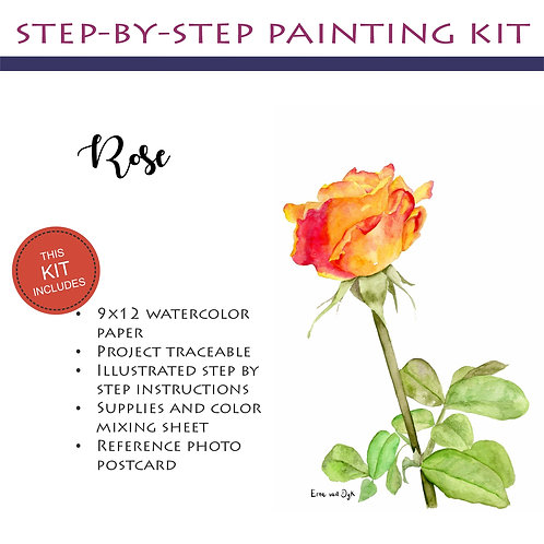Step by Step Painting Kit: Rose