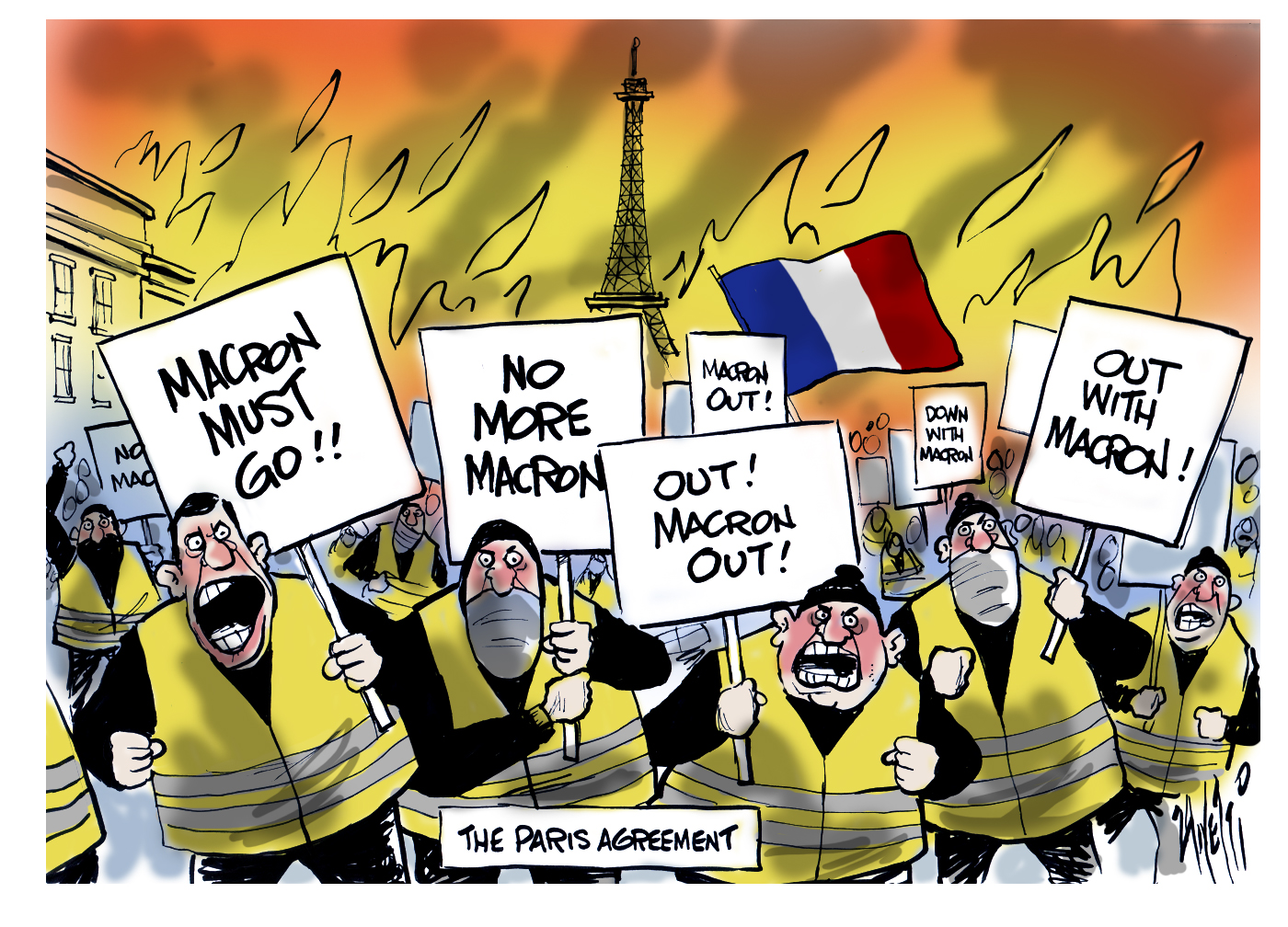 Paris France Riots Emannuel Macron