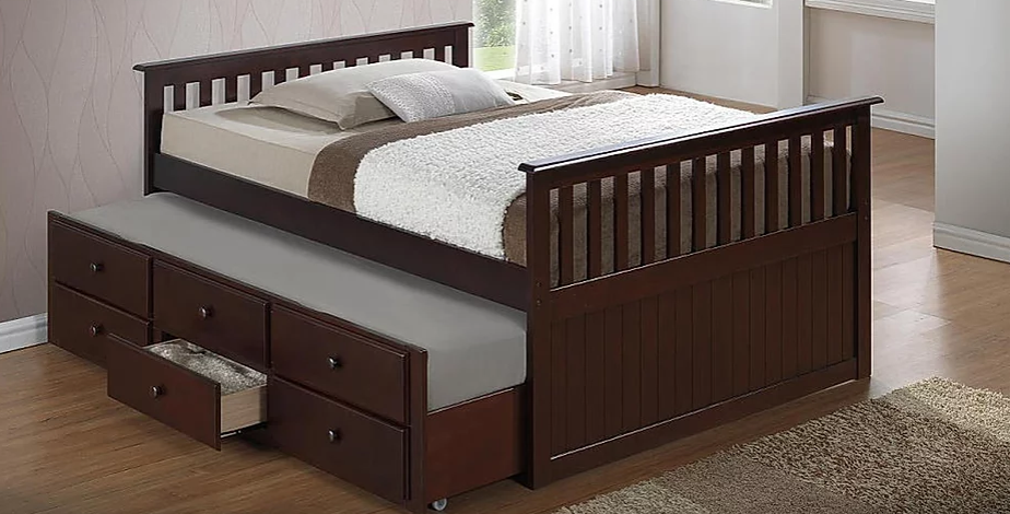 REBECCA T317 CAPTAIN BED WITH TRUNDLE AND DRAWERS