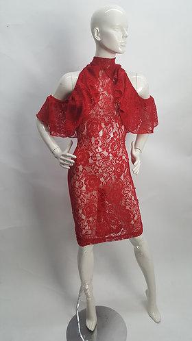 Ruffle Cut-away Shoulder Dress