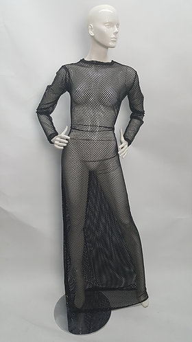 Transparent Stretch Long Sleeve Evening Gown