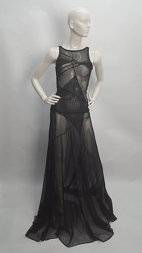 Mesh  Stretch Transparent Gown Dress