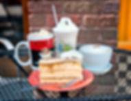 Mocha, frappe, cappuccino, cake