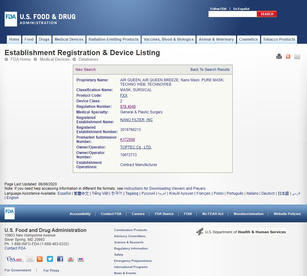 FDA Registration