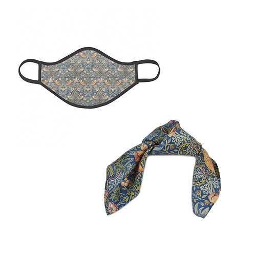 William Morris Strawberry Thief Face Mask & Hair Tie