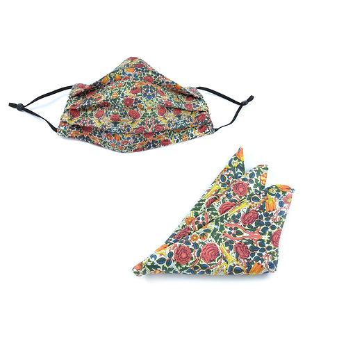 Silk / Cotton William Morris Rose Face Mask & Pocket Square