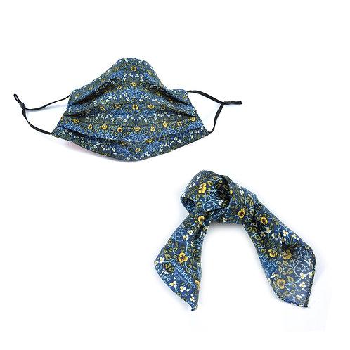Silk / Cotton William Morris Eyebright Face Mask & Hair tie