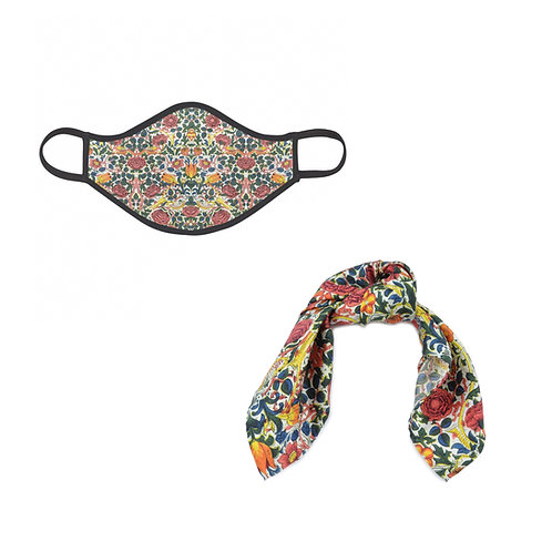 William Morris Rose Face Mask & Hairties