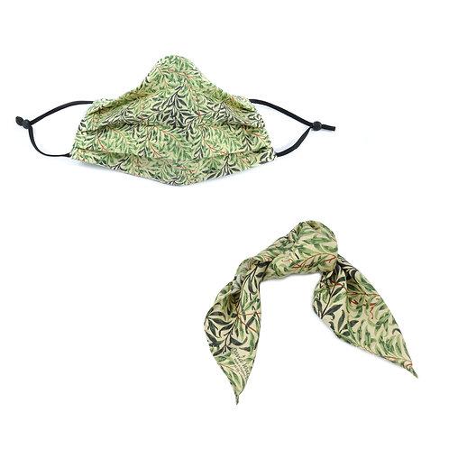 Silk / Cotton William Morris Willow Bough Face Mask & Hair tie