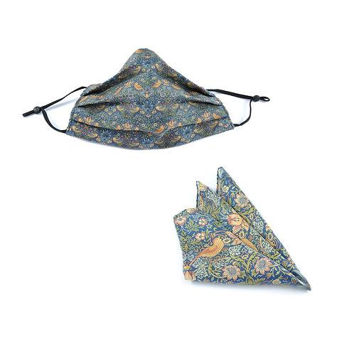Silk / Cotton William Morris Strawberry Thief Face Mask & Pocket Square