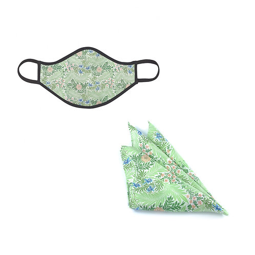 William Morris Larkspur Face Mask & Pocket Square