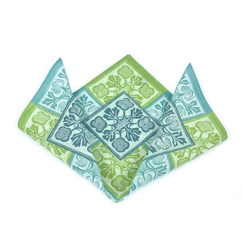Geometric Flowers Silk & Cotton Pocket Square