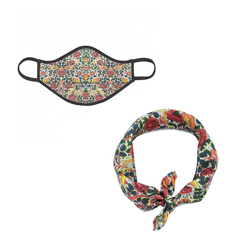 William Morris Rose Face Mask & Neckerchief