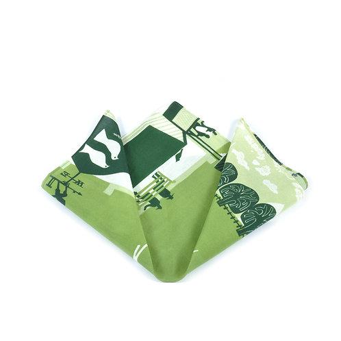 Vine Cricket Silk & Cotton Pocket Square