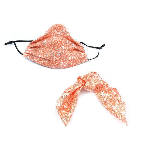 Silk / Cotton William Morris Pink & Poppy Face Mask & Hair tie