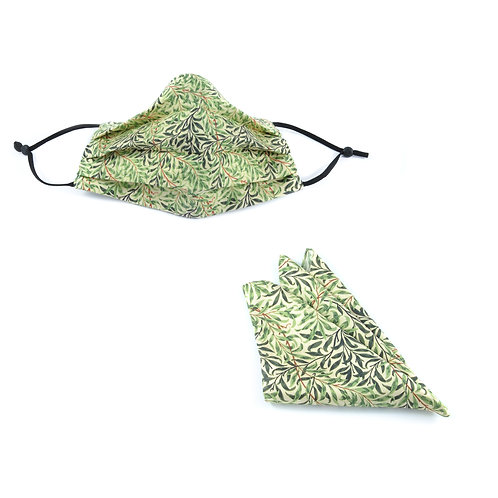 Silk / Cotton William Morris Willow Bough Face Mask & Pocket Square