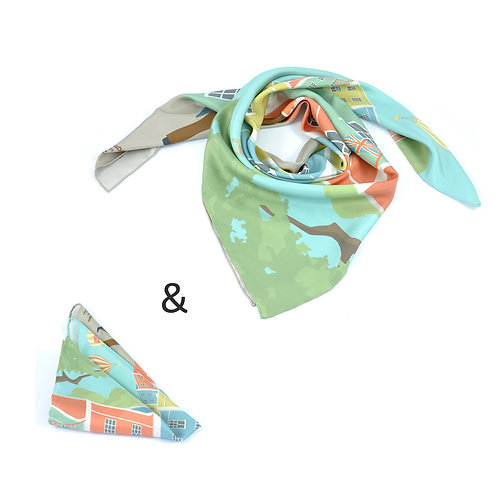 Bristol Colour Square Scarf & Pocket Square set