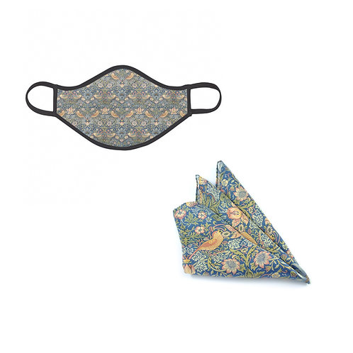 William Morris Strawberry Thief Face Mask &Pocket Square