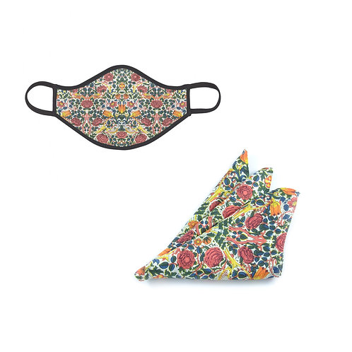 William Morris Rose Face Mask & Pocket Square