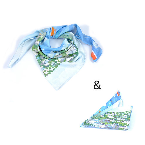 Salcombe Square Scarf & Pocket Square set