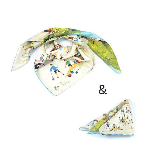 Mousehole Square Scarf & Pocket Square set