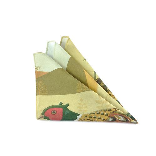 Fabulous Pheasant Silk & Cotton Pocket Square