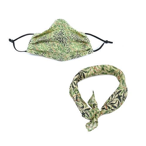 Cotton William Morris Willow Bough Face Mask & Neckerchief
