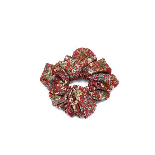 Cotton William Morris Red Strawberry Thief Scrunchie