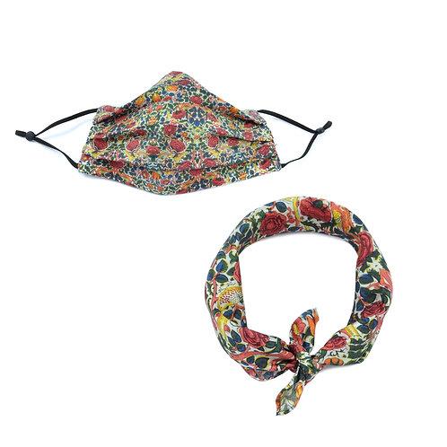 Silk / Cotton William Morris Rose Face Mask & Neckerchief