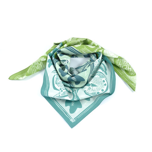 Geometric Flowers Silk & Cotton Scarf