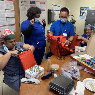 Staff enjoying gift