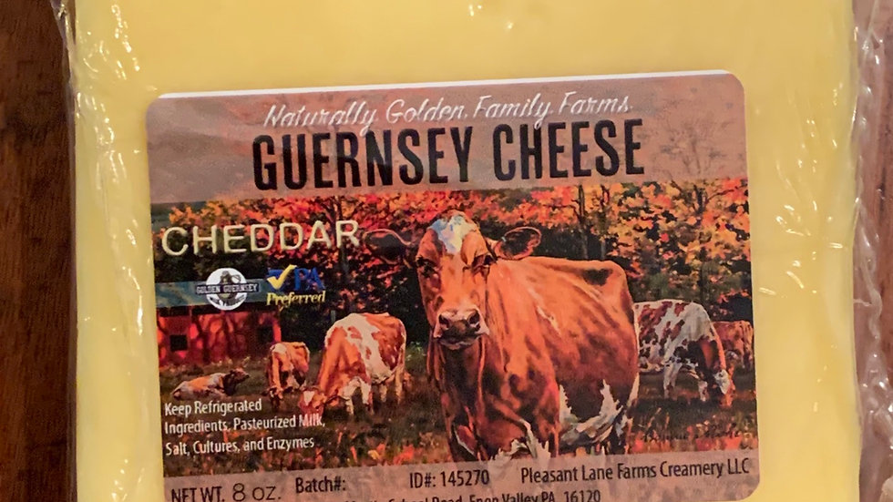8 oz Block of Guernsey Cheddar Cheese