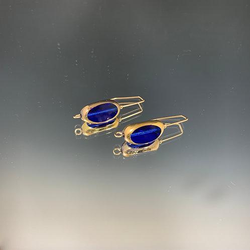 Blue 3-sided large drop: 22K Vintage Glass