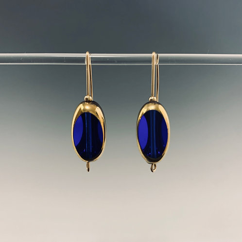 Large Blue 3-sided fixed earwire: 22K Vintage Glass