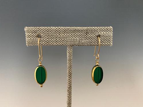 Emerald Green Oval: 22K Vintage Glass