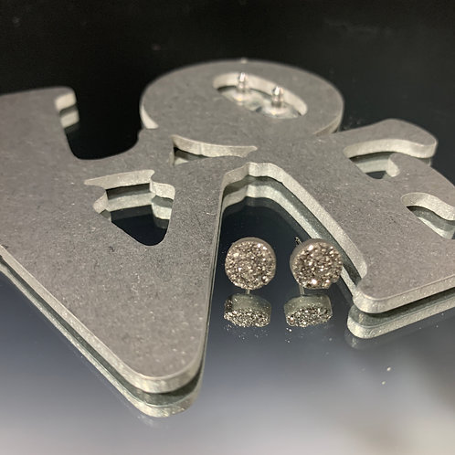 Small silver circle posts: Earrings Druzy Quartz