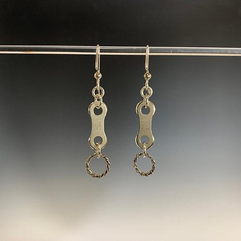 Sterling & twisted wire: Spoked Bike Chain Earring