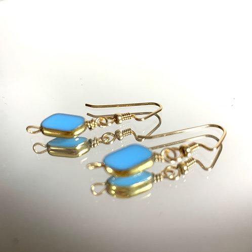 Baby Blue Petite Parallelgram: 22K Vintage Glass