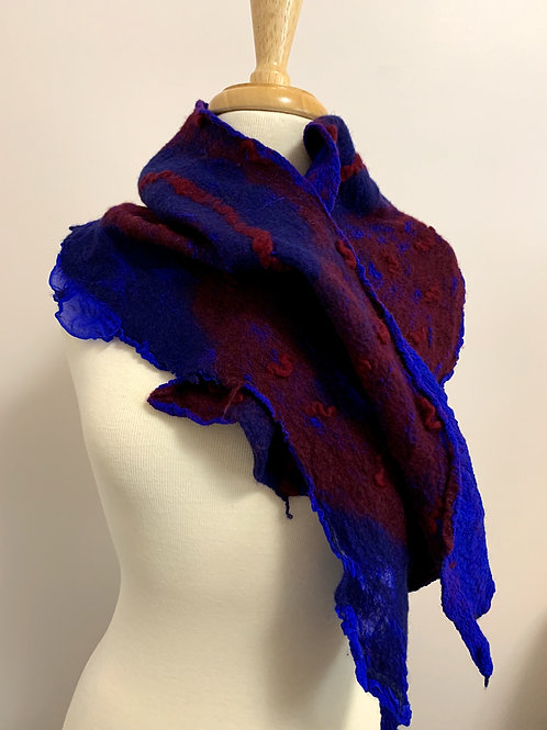 Love that Blue & Red: Nuno-felted Scarf